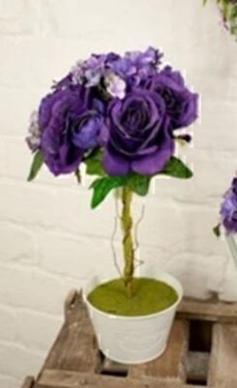 Topiary Of Roses Deep Purple Silk Flowers By Bloomsbury: Booker Gifts