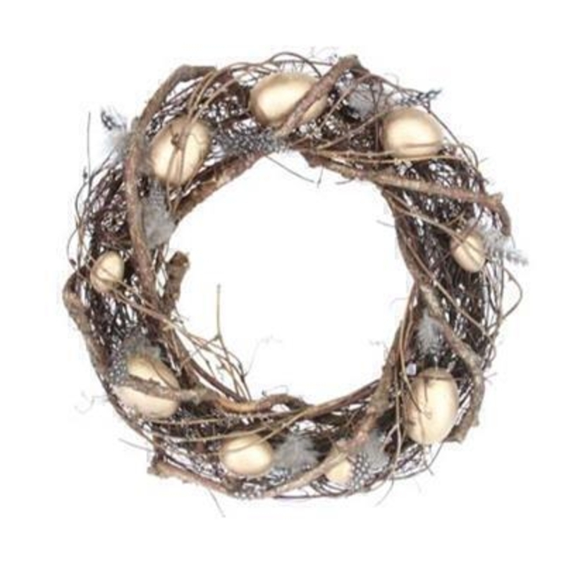 Twig Easter Wreath with Gold Eggs by Gisela Graham: Booker Gifts