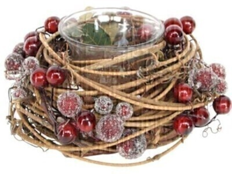 Twig and Red Berry Candle Holder by Gisela Graham: Booker Gifts