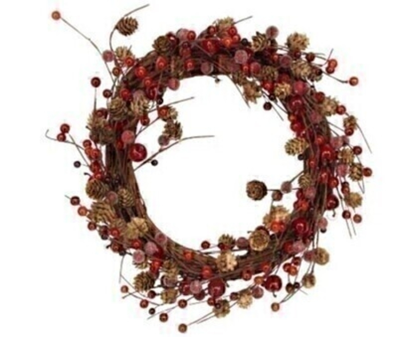 Twig and Red Berry Christmas Wreath by Gisela Graham: Booker Gifts