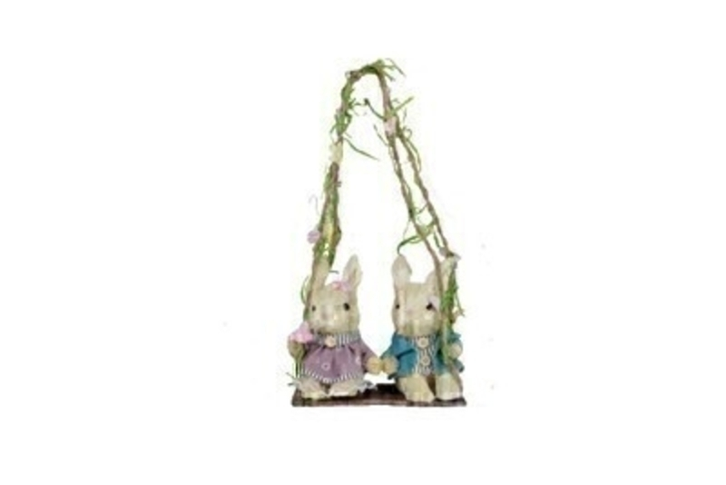 Two Bristle Bunnies On Swing Easter Decoration by Gisela Graham: Booker Gifts