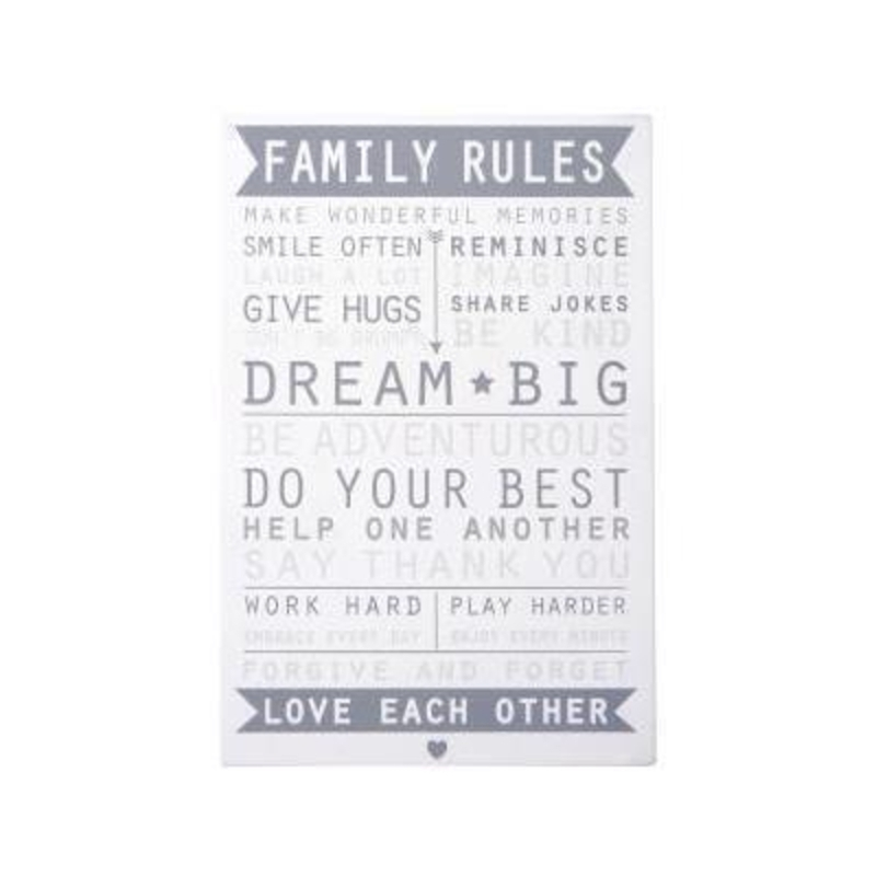 Vansta Family Rules Sign by Transomnia: Booker Gifts