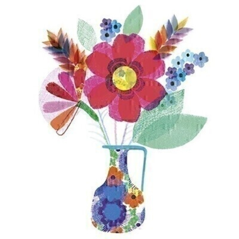 Vase of Flowers Blank Greetings Card With Envelope: Booker Gifts