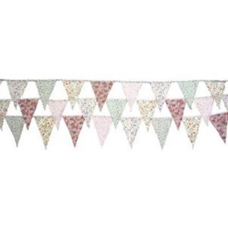 Vintage Country Floral Bunting by Transomnia. 3m of bunting in pretty florals - flags are alternating colours of pinks - blues and purples. Makes great decorations for parties or country style wedding. Each flag size 18x13cm. Length 3m