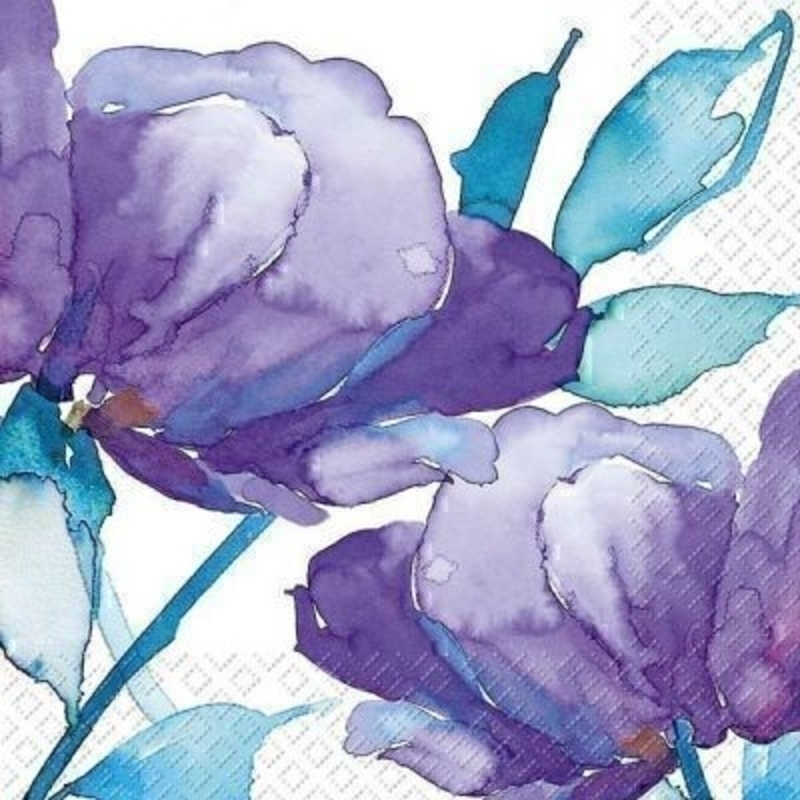 Water Colour Purple Flower Napkin Femke by Stewo. 20 napkins in pack. 3 ply. 33x33cm. Environmentally friendly cellulose printed with water-based inks.