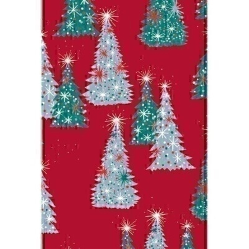 In traditional colours of red and green this festive wrapping paper features green and silver Christmas trees. Approx size 2m