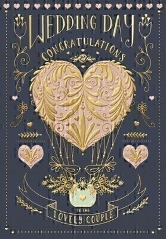 This Wedding greetings card from Paper Rose has a black gold and rose gold design featuring a heart shaped hot air balloon with Wedding Day Congratulations to the lovely couple written on the front. The card has Wishing both of you every happiness in the world today and always written inside and comes complete with white envelope.  Perfect for celebrating a Wedding.