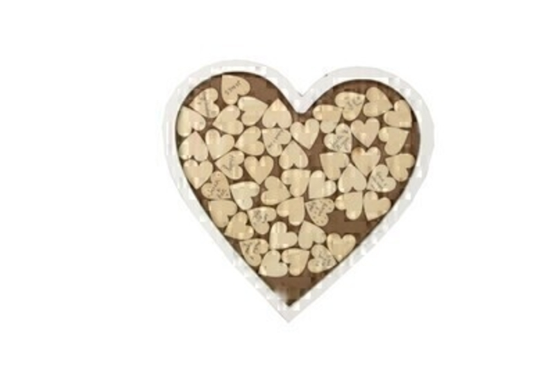 This modern take on a Wedding Guest Book is a lovely keepsake which you can hang in your home for years to come. Have your guests write their names or a little message on a wooden heart and then insert them into the heart shaped frame. Made by designer Gisela Graham and would make an ideal gift for the Happy Couple. Can also be used as an Anniversary Guest Book or to celebrate a special occasion. Size (LxWxD) 30.5x30.5x1.5cm