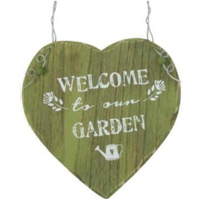 Welcome To Our Garden Heart Decoration by Gisela Graham: Booker Gifts