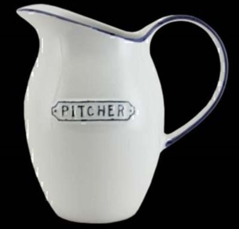 Large vintage style white and blue Jug by Gisela Graham with 'Pitcher' on the front. Great gift for new home or kitchen. Size 20x19x10cm