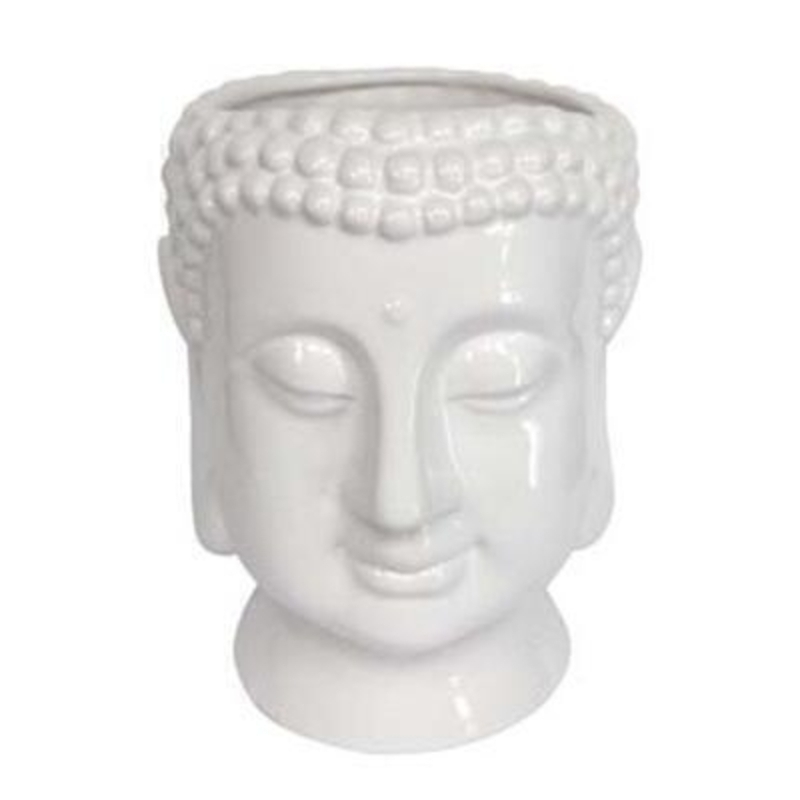 White Ceramic Buddha Ornamental Pot Cover - Large - by Gisela Graham: Booker Gifts
