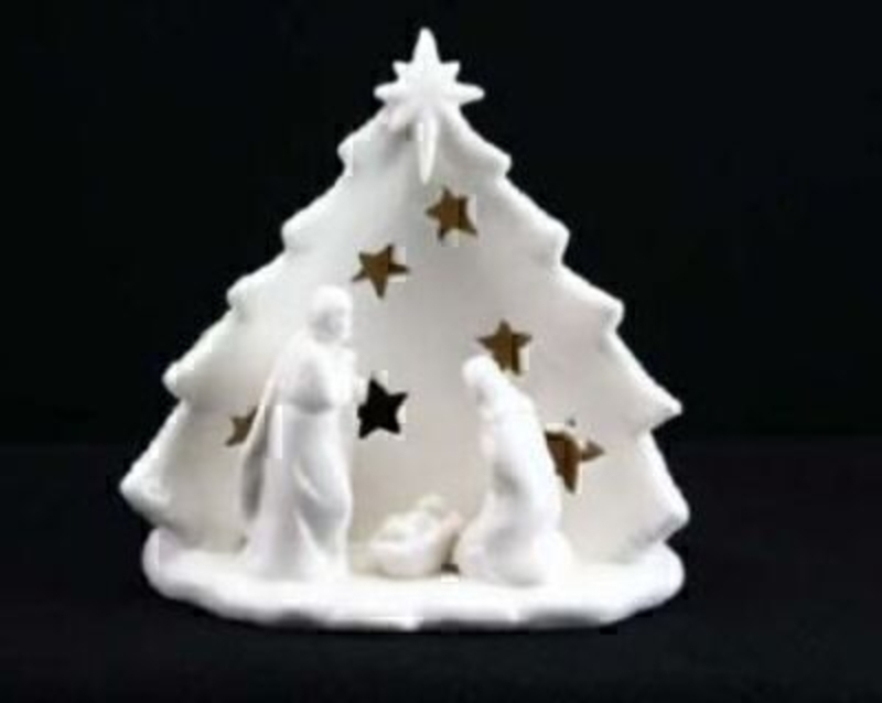 White Ceramic Nativity Nightlight by Gisela Graham. Perfect Christmas decorations for you to enjoy a beautiful candle holder. Size 15x13x10cm<br><br>