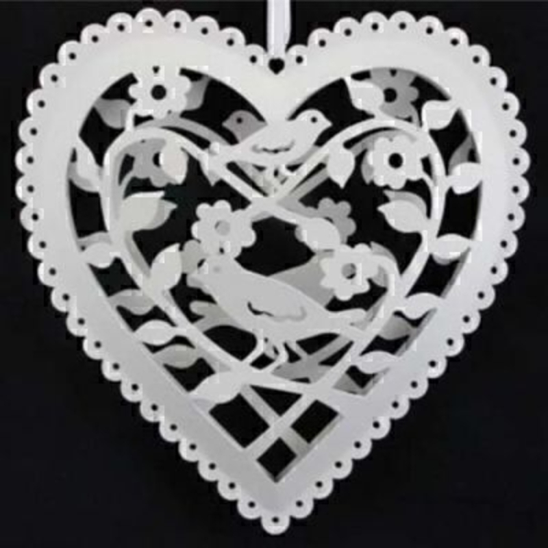 White Cut Out Bird Heart Hanging Decoration: Booker Gifts