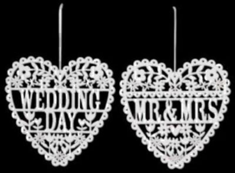 White Fret Wedding Day Or Mr And Mrs Heart Decoration: Booker Gifts
