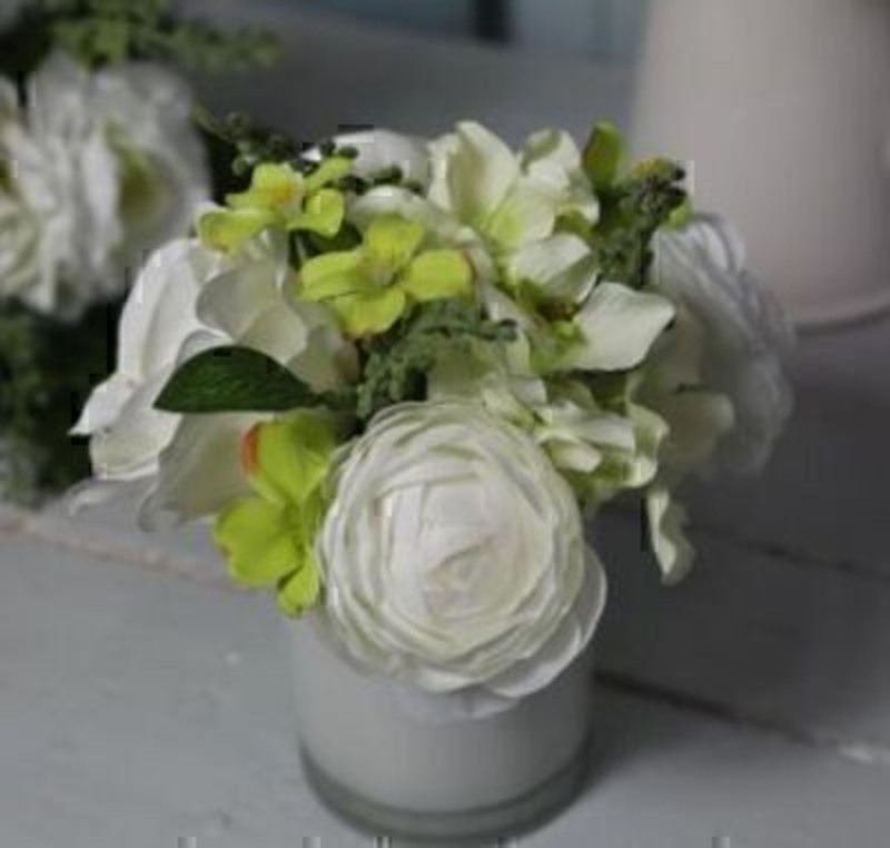 White Green Artificial Rose Flower Arrangement in pot by Bloomsbury. White Glass Pot. Can also be called silk flowers the quality of these artificial flowers by Bloomsbury is second to none. For Realistic fake or silk flowers Bloomsbury are the perfect