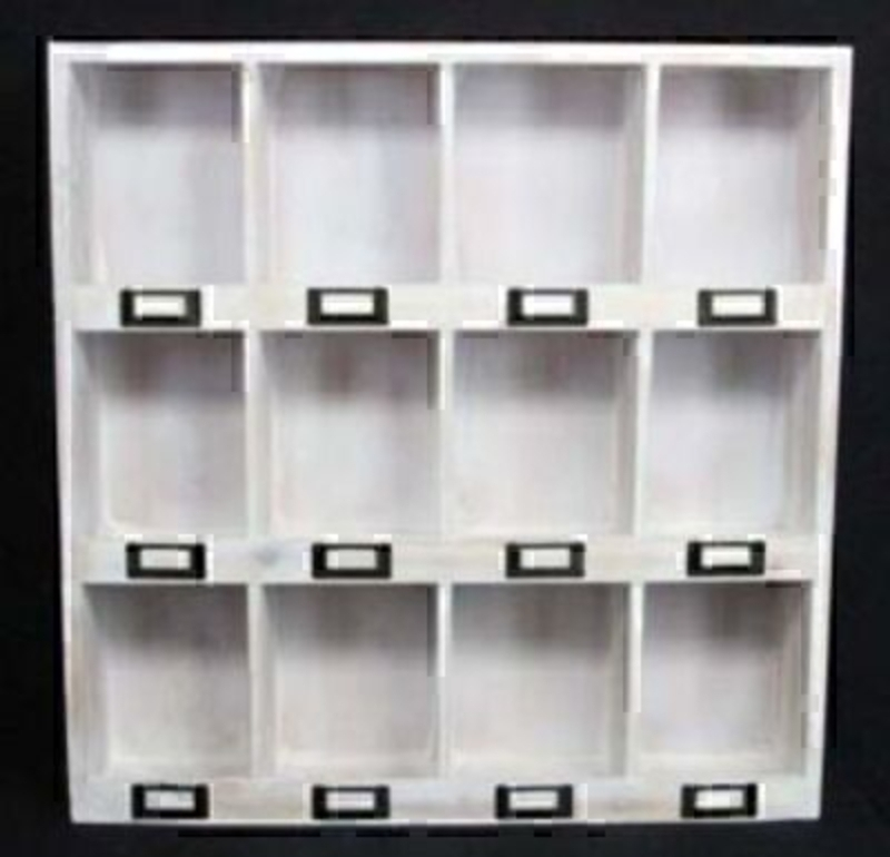 White Wash 12 Compartment Shelf by Gisela Graham: Booker Gifts