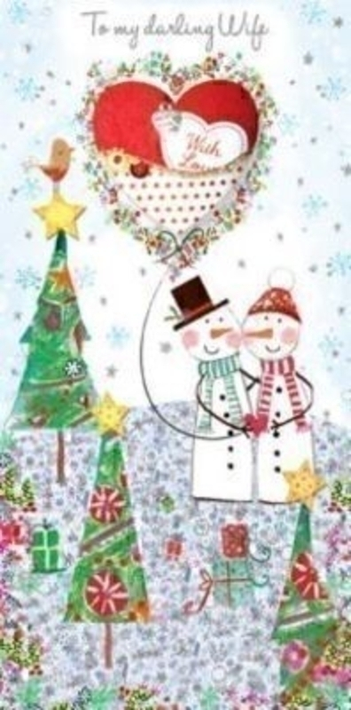Wife Handmade Christmas Card - Snowman and Trees by Paper Rose. Picture is of two Snowman with Christmas Trees and an appliqued heart with beads sequin and charm. Comes with a red envelope. 'To my Darling Wife' on the front. Blank for your own message