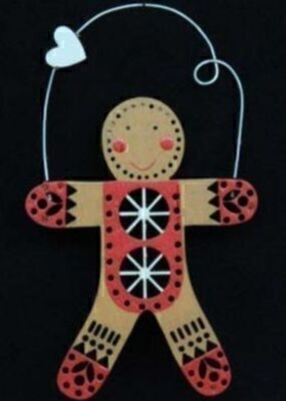 Wood Fretwork Gingerbread Man Christmas Tree Decoration: Booker Gifts