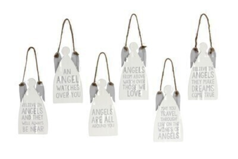 Wooden Angel And Angel Quote Hanging Decoration By Gisela Graham: Booker Gifts