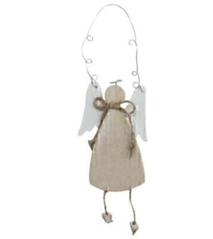 Wooden Angel hanging decoration by Gisela Graham in natural and white. Shabby Chic gifts for Christmas or just because. This Angel Christmas tree ornament will compliment any Christmas Tree and will bring Christmas cheer to children at Christmas time year after year. Remember Booker Flowers and Gifts for Gisela Graham Christmas Decorations.