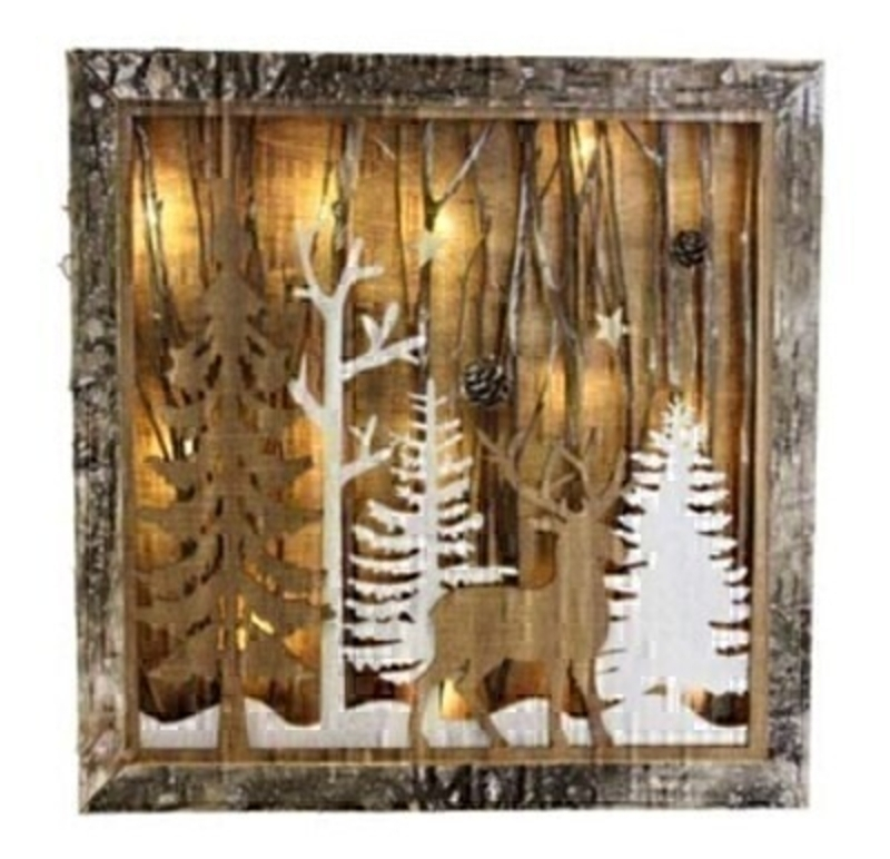 Wooden Christmas Tree and Deer Lightbox By Gisela Graham: Booker Gifts