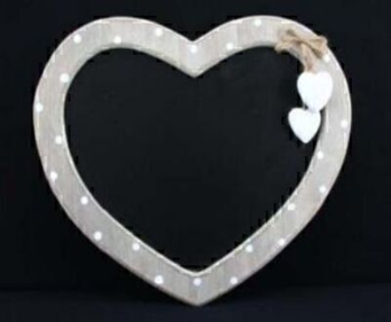 Wooden Dot Heart Shaped Chalkboard By Gisela Graham: Booker Gifts