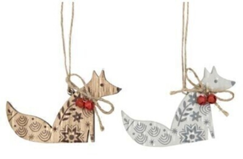 Wooden Fox Christmas Tree Decoration by Gisela Graham: Booker Gifts
