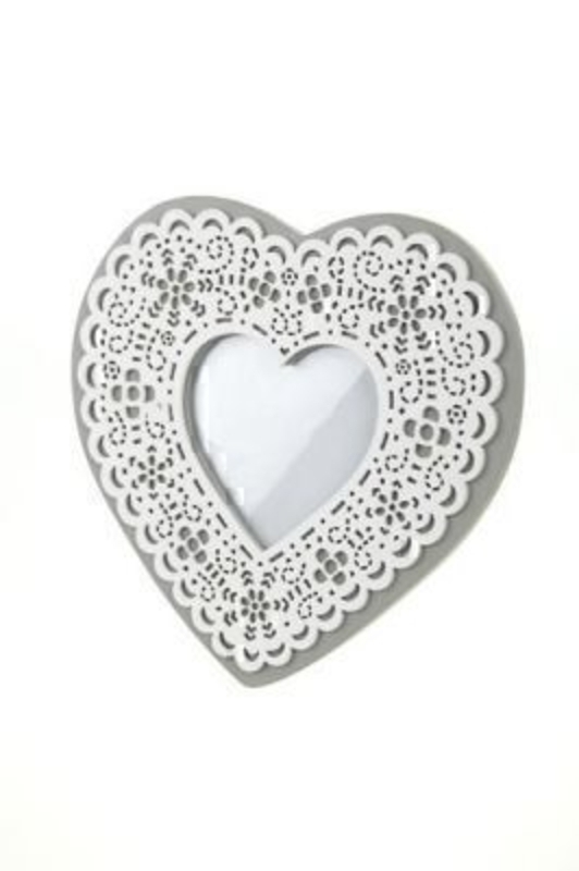 Wooden Lace Effect Heart Photo Frame by Heaven Sends Grey heart shaped frame with white heart cut out design overlay. Stand bracket on back means it can be put on a desk - window ledge or sideboard.  20.5x23x1.5cm. Heart shape aperture that holds phot