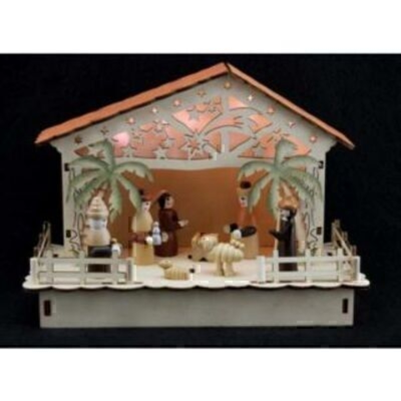 A beautiful wooden LED light-up Christmas Nativity Scene Box by designer Gisela Graham. Featuring wooden figures with a wooden stable box decorated with cut out stars and lit up with LED lights. Takes 3 x AA batteries - which are not included. Gisela Graham are a well known brand - recognised for their beautiful Christmas Decorations.<br><br>