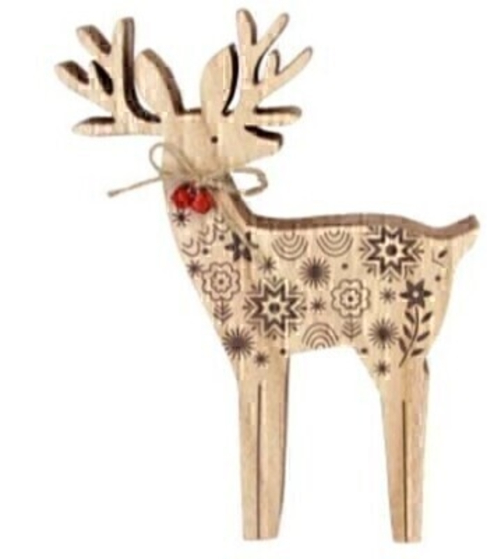 Wooden Reindeer Large Christmas Ornament By Gisela Graham: Booker Gifts