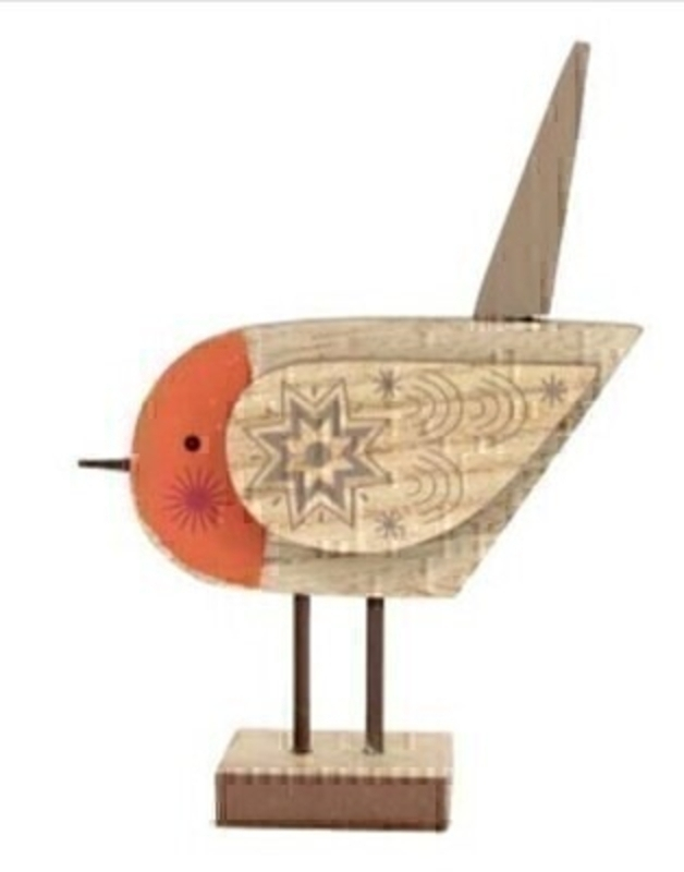 Wooden Robin Christmas Ornament By Gisela Graham: Booker Gifts