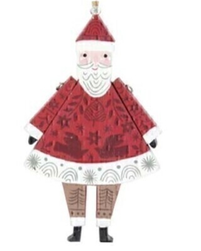 Wooden Santa Christmas Decoration by Gisela Graham: Booker Gifts