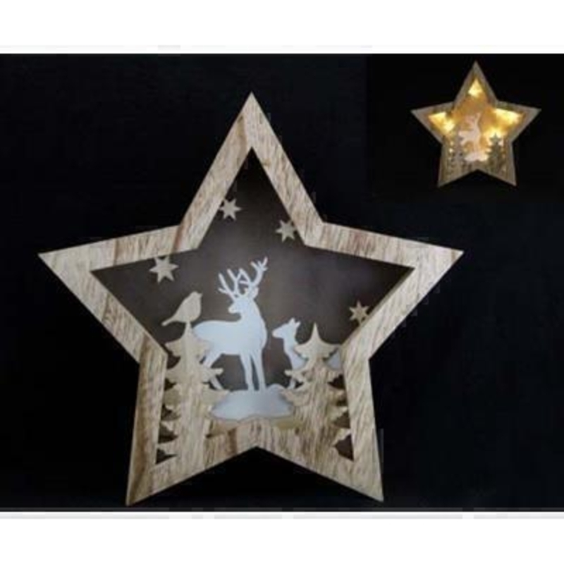 Wooden Star with Deer Lightbox by Gisela Graham: Booker Gifts