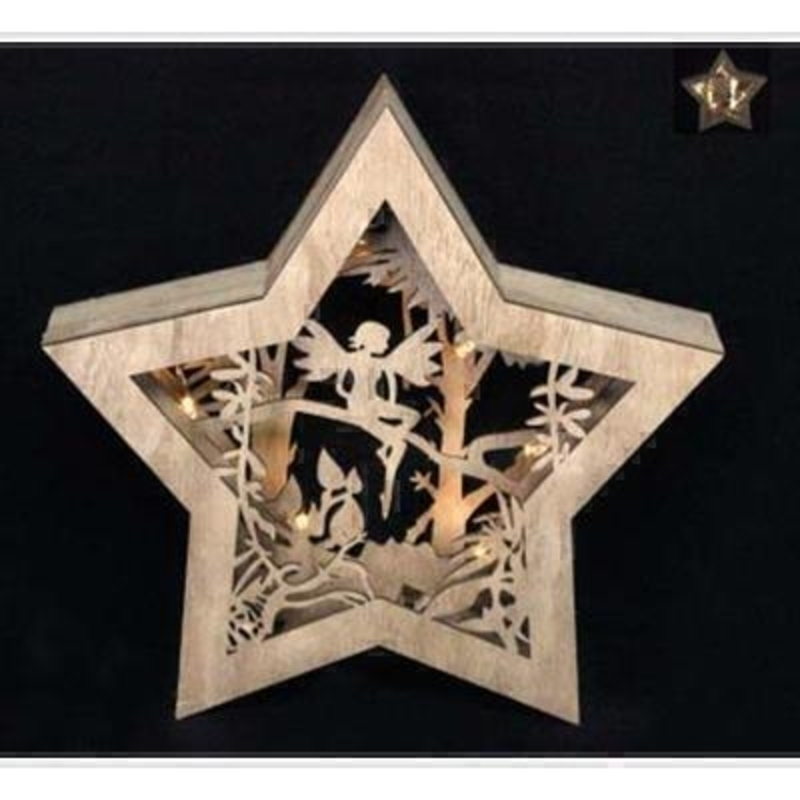 Wooden Star with Fairy Lightbox by Gisela Graham: Booker Gifts