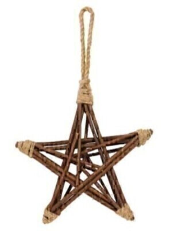 Wooden Twig Star Small Christmas Decoration by Gisela Graham : Booker Gifts