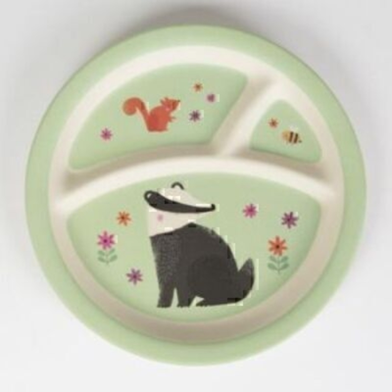 Woodland Friends Childrens Separated Plate by Sass and Belle. In gender natural green with a picture of badger - squirrel and bee this plate is a great gift for a boy or girl.  Melamine childrens plate with 3 separators. It has a lovely matt finish and