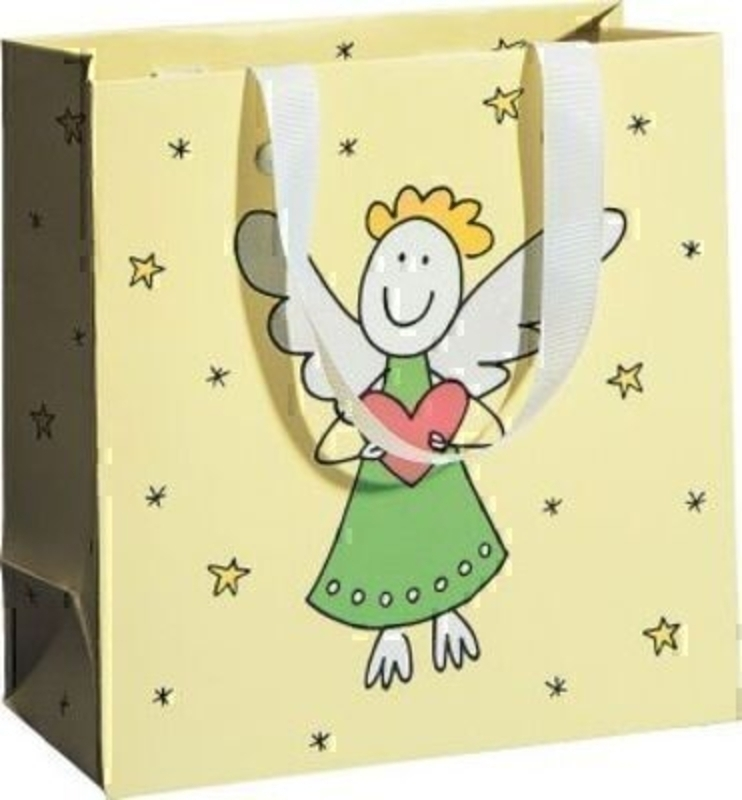 Yellow Christmas angel drawing gift bag Chiara by Swiss designer Stewo. This quality gift bag by Swiss designer Stewo will not disappoint. It has all the quality and detailing you would expect from Stewo. This gift bag is made from matt laminated paper wi