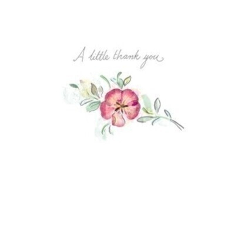This cute little greetings card from Paper Rose has a picture of a flower with A little thank you written on the front. The card is blank inside so you can write your own message and it comes complete with envelope.  A lovely little card to send to someone who loves flowers or nature.