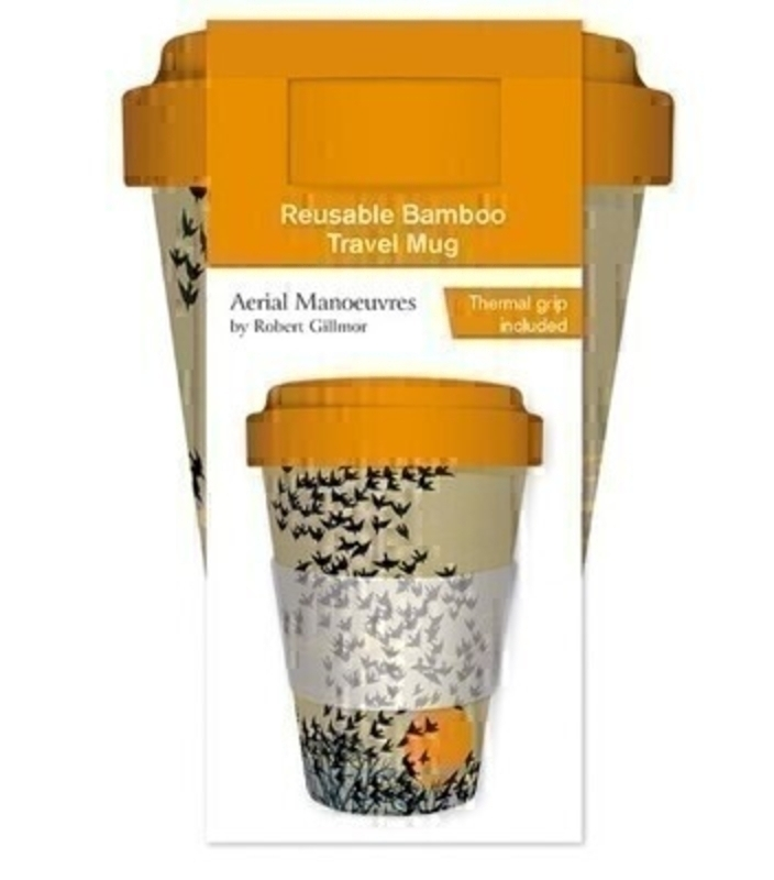 Have your morning coffee/tea in style with this high-quality illustrated reusable bamboo travel mug. Featuring Aerial Manoeuvres by Robert Gilmore of black birds flying in the sunshine. Beautiful yellow lid and thermal grip included. 450 ml. Dishawash safe. FDA approved. Food safe. Biodegradable.