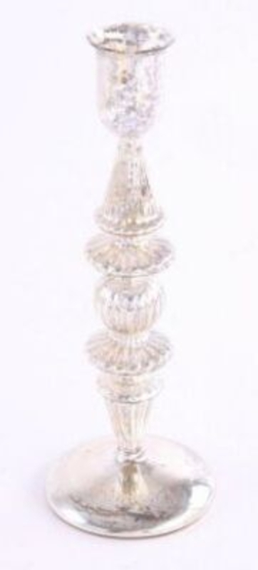 Glass candle holder in antique silver by Heaven Sends. Perfect for you Christmas table. Size 25x8cm