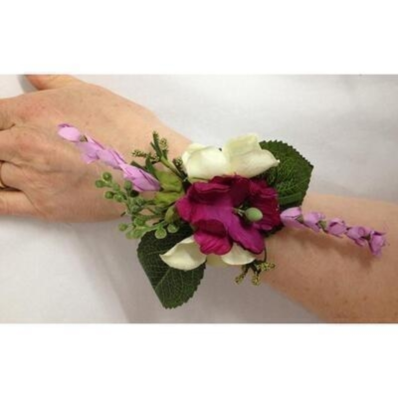 Artificial Flower Wrist Corsage - Cerise Lilac and Cream: Booker Gifts