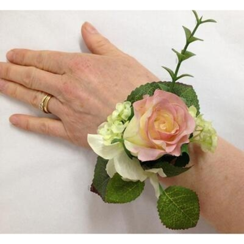 Artificial Flower Wrist Corsage - Cream and Pink Tinged: Booker Gifts