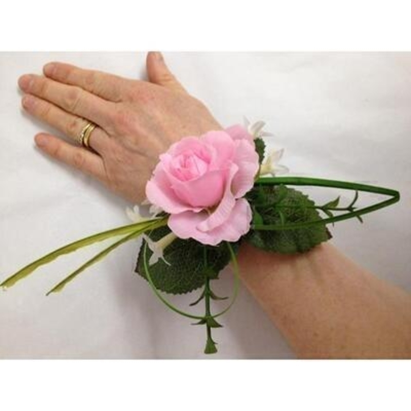 Artificial Flower Wrist Corsage - Pale Pink Rose: Booker Gifts