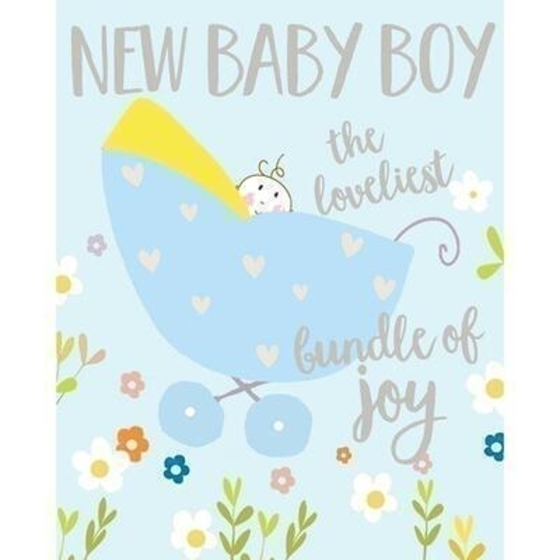 Baby in Blue Pram card by Liz and Pip. Celebrate the arrival of a new baby with this beautiful and quality card. This new Baby Card by Liz and Pip is Embossed and Hot Foiled stamped. ''New Baby Boy The loveliest bundle of joy''. Blank inside for your own message. 120x150mm