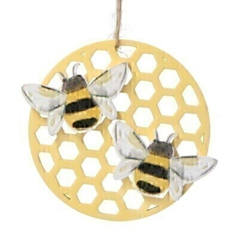 A yellow wooden honeycomb hanging decoration featuring 2 bumble bees. Made by London based designer Gisela Graham who designs really beautiful gifts for your home and garden.  Would suit any home decor and would make a lovely gift. Matching items available.