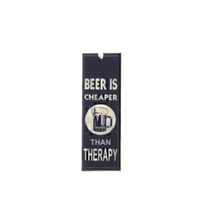 Beer is Cheaper Mini Metal Sign by Heaven Sends. Mini tin sign, could also be used as a bookmark with the caption 'Beer is Cheaper than Therapy'. Size 15x5cm.