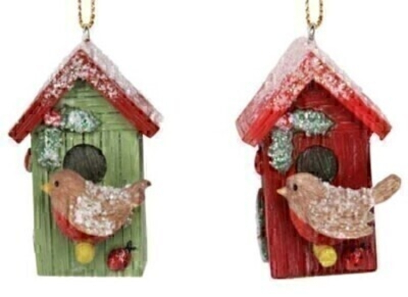Decorative birdhouse with red robin Christmas Tree hanging decoration by Gisela Graham would look lovely on your Tree this Christmas. Choice of 2 - If you have a preference please specify when ordering. This fesive birdhouse and robin ornament by Gisela Graham will delight for years to come. It will compliment any Christmas Tree and will bring Christmas cheer to children at Christmas time year after year. Remember Booker Flowers and Gifts for Gisela Graham Christmas Decorations.