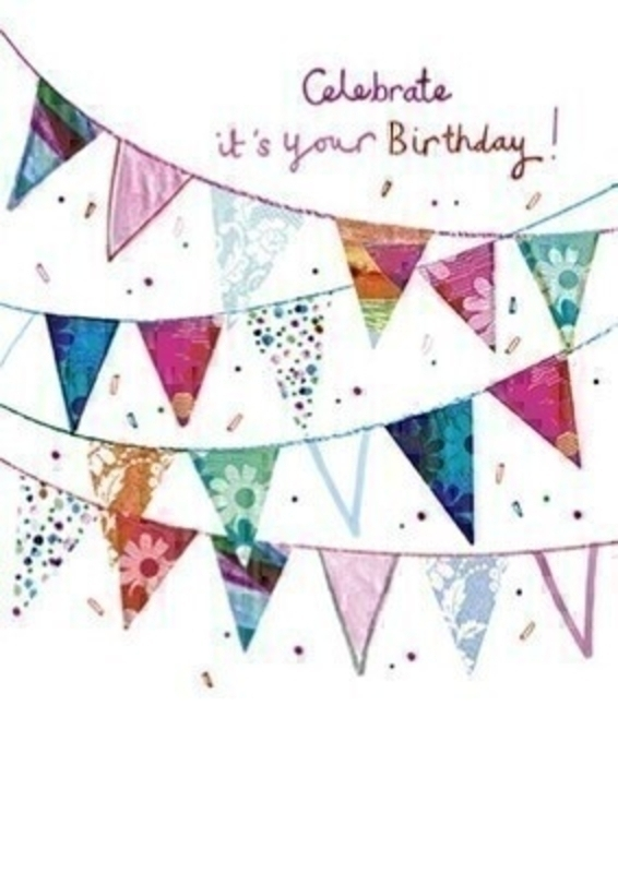 This Birthday greetings card from the Paper Rose is decorated with brightly coloured bunting and confetti. It has Celebrate Its Your Birthday! written on the front and Happy Birthday written on the inside. The card is perfect to send to someone celebrating a birthday and comes complete with a purple envelope.