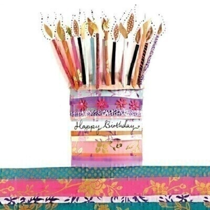 This birthday greetings card from Paper Rose has a birthday cake with tall candles with the wording Happy Birthday on the front.  Inside the card it says Have A Wonderful Birthday.  Card comes complete with envelope and is a lovely birthday card to send to someone celebrating their special day.