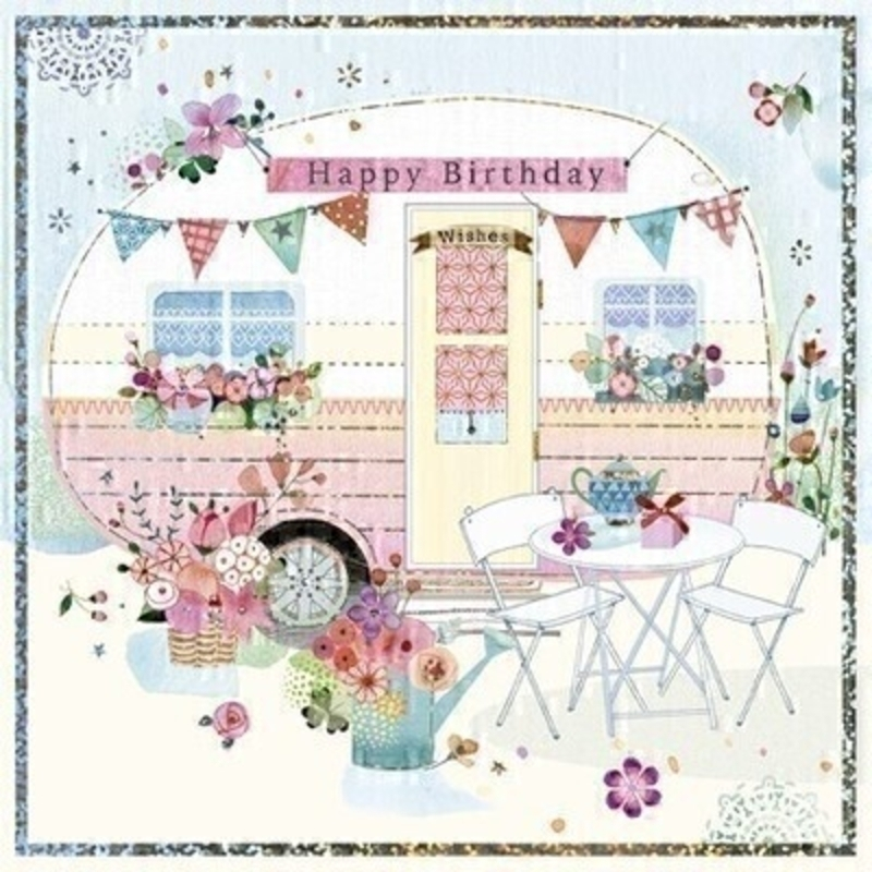 This Birthday greetings card from Paper Rose shows a vintage carvan decorated with flower boxes bright bunting and bistro set with Happy Birthday written on the front. The card is perfect to send to someone celebrating a birthday and it has Relax and Enjoy written on the inside. Comes complete with a pink envelope.